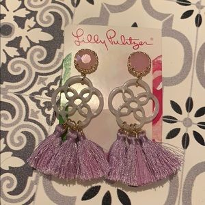 Lilly Pulitzer sandpiper Lilac Tassel Earrings NWT